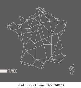 Abstract polygonal geometric France, Corsica minimalist vector map isolated on gray background
