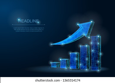 Abstract polygonal growth chart with arrow climbing stairs. Graph chart of stock market investment trading, Bullish point