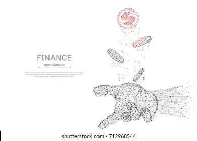Abstract polygonal hand tosses coins isolated on white background. Low poly wireframe vector illustration. Business and finance digital concept mash line and point with destruct shapes.