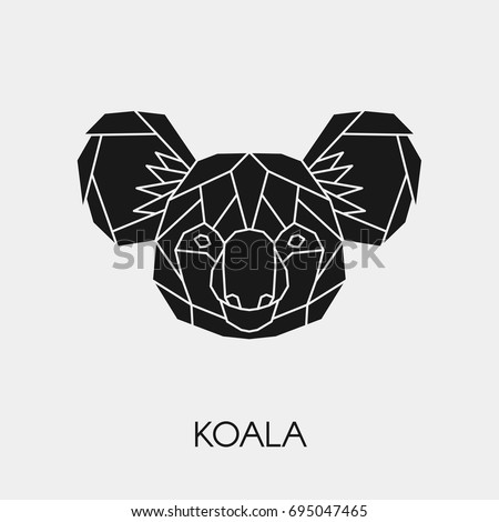 Abstract Polygonal Head Koala Geometric Black Image Vectorielle De