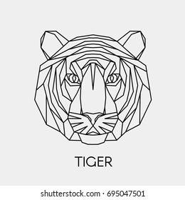 Abstract polygonal head of a tiger. Geometric linear tiger. Vector.