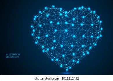 Abstract polygonal heart. Valentine's day. Consists of points, lines, in the form of a starry sky. Vector EPS 10.