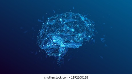 Abstract polygonal human brain. Low poly wire frame mesh vector illustration on blue background. Lines and dots. Polygonal art in the form of a starry sky or space. Vector image in RGB Color mode.