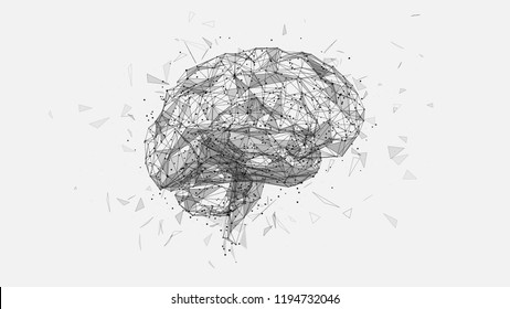 Abstract polygonal human brain. Low poly wire frame mesh vector illustration on white background. Lines and dots. Polygonal art in the form of a starry sky or space. Vector image in RGB Color mode.