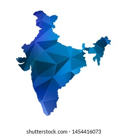 Abstract polygonal India map. Vector low poly color blue map geometric shape texture. Vector illustration.