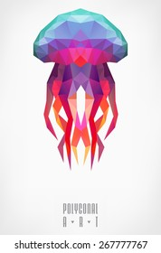 Abstract polygonal jellyfish. low poly illustration. Polygonal poster