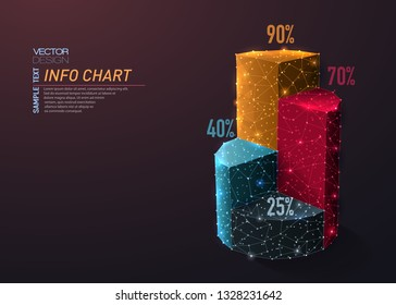 Abstract polygonal light of 3D Pie chart infographic. Business wireframe mesh spheres from flying debris. Info data concept. Colorful structure style vector illustration.