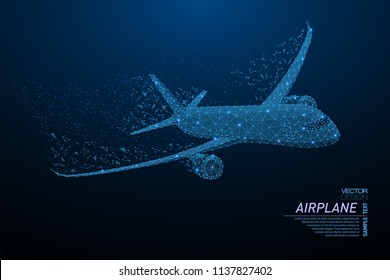 Abstract polygonal light commercial airliner. Business wireframe mesh spheres from flying debris. Travel concept. Blue structure style vector illustration.