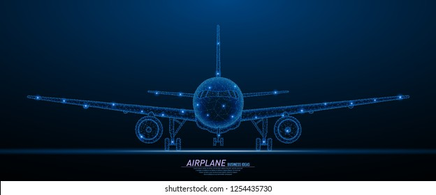 Abstract polygonal light of commercial airliner front veiw. Business wireframe mesh spheres from flying debris. Travel concept. Blue structure style vector illustration.