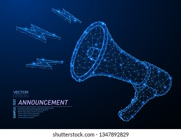 Abstract polygonal light design of bullhorn or megaphone. Business low poly mesh spheres from flying debris. Promotion advertisement concept. Blue lines, dots structure style vector illustration.