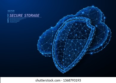 Abstract polygonal light design of cloud storage with shield sign. Business wireframe mesh spheres from flying debris. Secure concept. Blue lines,dots structure style vector 3D illustration.