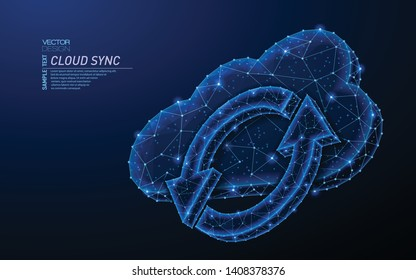 Abstract polygonal light design of cloud storage with sync sign. Business wireframe mesh spheres from flying debris. Update, refresh concept. Blue lines,dots structure style vector 3D illustration.