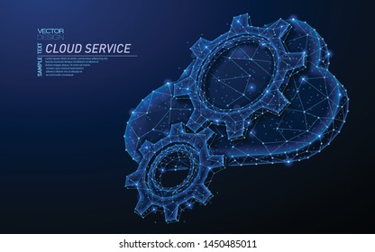 Abstract polygonal light design of cloud storage with cog gears sign. Business wireframe mesh spheres from flying debris. Cloud service concept. Blue lines,dots structure style vector 3D illustration.