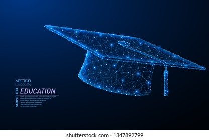 Abstract polygonal light design of Graduation cap. Business low poly wireframe mesh spheres from flying debris. Education, learning concept. Blue lines, dots structure style vector illustration.