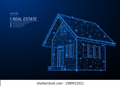 Abstract polygonal light design of house building symbol. Business low poly wireframe mesh from flying debris. Real estate concept. Blue lines, dots structure style vector 3D illustration.