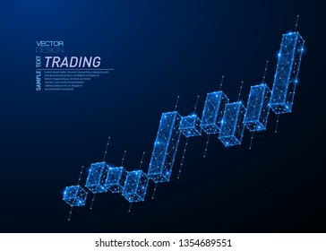Abstract polygonal light design of japanese candlesticks. Business low poly wireframe mesh spheres from flying debris. Stock market trading concept. Blue lines structure style vector illustration.