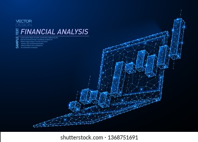 Abstract polygonal light design of laptop with stock market investment chart. Business mesh spheres from flying debris. Mobile trade concept. Blue lines, dots structure style vector 3D illustration.
