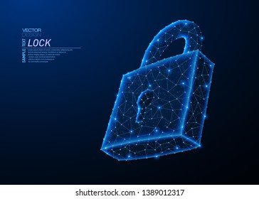 Abstract polygonal light design of lock symbol. Business low poly wireframe mesh from flying debris. Cyber security or safe concept. Blue lines, dots structure style vector 3D illustration.