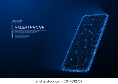 Abstract polygonal light design of smartphone with glowing screen. Business low poly mesh spheres from flying debris. Gadgets and devices concept. Blue lines structure style vector illustration.