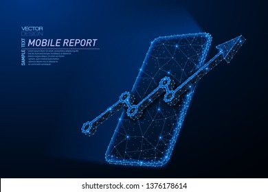 Abstract polygonal light design of smartphone, arrow growth chart. Business mesh spheres from flying debris. Mobile analytics report concept. Blue lines, dot structure style vector 3D illustration.