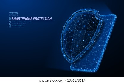 Abstract polygonal light design of smartphone protection shield. Business low poly mesh spheres from flying debris. Mobile protect and security or safe concept. Blue lines style vector illustration.
