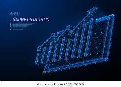 Abstract polygonal light design of tablet with arrow growth chart. Business mesh spheres from flying debris. Gadget statistic concept. Blue lines, dots structure style vector 3D illustration.