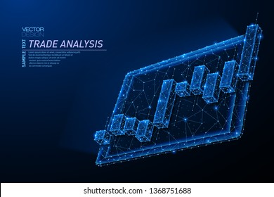 Abstract polygonal light design of tablet with stock market investment chart. Business mesh spheres from flying debris. Trade analysis concept. Blue lines, dots structure style vector 3D illustration.