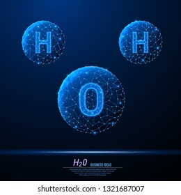 Abstract polygonal light of H2O molecules. Business wireframe mesh spheres from flying debris. Chemical formula of water drops H2O concept. Blue structure style vector illustration.