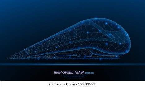 Abstract polygonal light of high-speed commuter passenger train, perspective veiw. Business wireframe mesh spheres from flying debris. Travel concept. Blue structure style vector illustration.