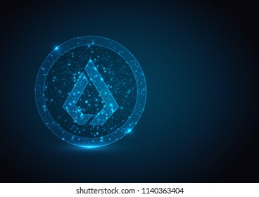Abstract polygonal light LISK coin mesh from a starry on blue background.  Crypto currency mining concept. Vector financy illustration.