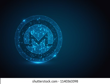 Abstract polygonal light MONERO coin mesh from a starry on blue background.  Crypto currency mining concept. Vector financy illustration.