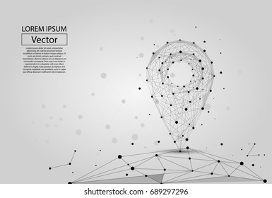 Abstract polygonal line and point pin on white background above the map. Vector business mash illustration.