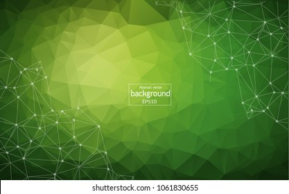 Abstract polygonal low poly dark background with connecting dots and lines. Connection structure. Vector science background. Polygonal vector background. Futuristic HUD background.