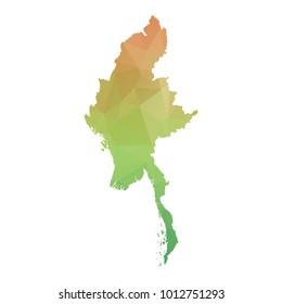 Abstract Polygonal Map - Vector illustration Low Poly Colorful map of Myanmar on white background. Vector illustration eps10.