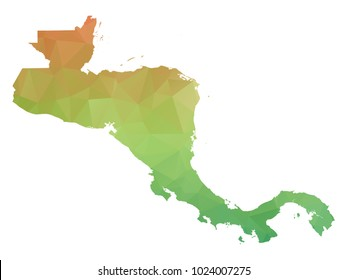 Abstract Polygonal Map - Vector illustration Low Poly Colorful map of Central America on white background. Vector illustration eps10.