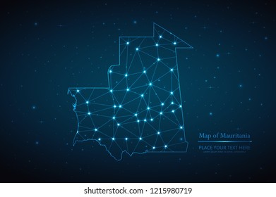 Abstract polygonal Mauritania map on dark background with glowing dot, line, design sphere, and structure. Wire frame 3D mesh polygonal network connections. Vector illustration eps 10.