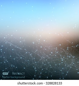 Abstract polygonal mesh space futuristic background. Digital blurred technology style. Defocused blank for business presentations or gift cards. Vector plexus EPS10