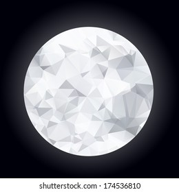 Abstract polygonal moon on a dark blue background