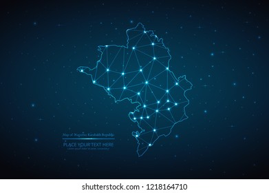 Abstract polygonal Nagorno Karabakh Republic map on dark background with glowing dot, line, design sphere, and structure. Wire frame 3D mesh polygonal network connections. Vector illustration eps 10.