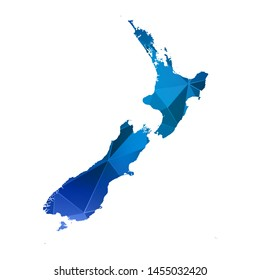 Abstract polygonal New Zealand map. Vector low poly color blue map geometric shape texture. Vector illustration.