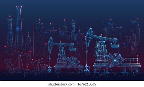 Abstract polygonal panorama of the extraction of petroleum. Pumpjacks on an oil well. Usable petroleum is drawn out from beneath the earth's surface location. Low poly wireframe vector illustration.