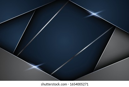 Abstract polygonal pattern luxury dark blue with gray, paper with shiny light decorations.