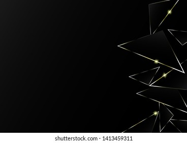 Abstract polygonal pattern luxury golden line with black template background.Vector background can be used in cover design, book design, poster, cd cover, flyer, website backgrounds or advertising.