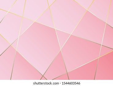 Abstract polygonal pattern luxury golden line with pink template background.Vector background can be used in cover design, book design, poster, cd cover, flyer, website backgrounds or advertising.