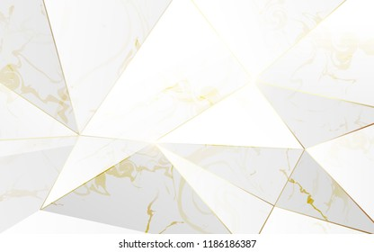 Abstract polygonal pattern luxury white with gold background