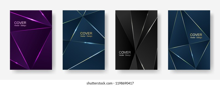 Abstract polygonal patterns set in luxury dark blue, ultra violet and black colors with gold, silver, platinum shining lines.