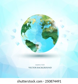 Abstract polygonal planet earth background. Vector illustration