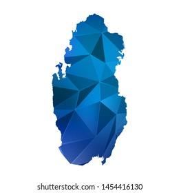 Abstract polygonal Qatar map. Vector low poly color blue map geometric shape texture. Vector illustration.