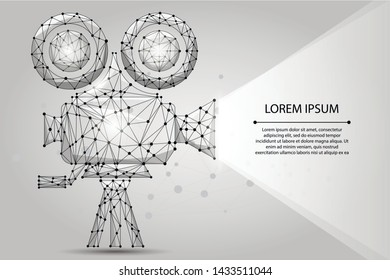 Abstract polygonal Retro cinema projector. Low poly wireframe vector illustration.Movie time. Cinema, movie, festival poster