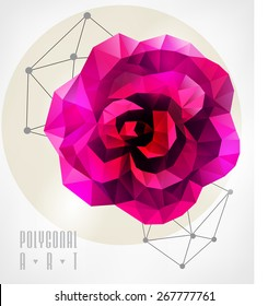 Abstract polygonal rose. Geometric hipster illustration. low poly illustration